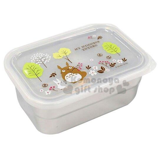 〔小禮堂〕宮崎駿Totoro 龍貓 方形塑膠蓋不鏽鋼便當盒《綠銀.樹林》580ml.便當盒.餐盒