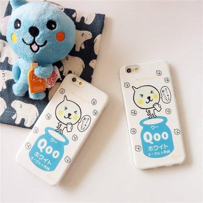 牛奶酷兒Qoo 蘋果5S/6Plus情侶4S手機殼iPhone6s彩繪軟殼保護套