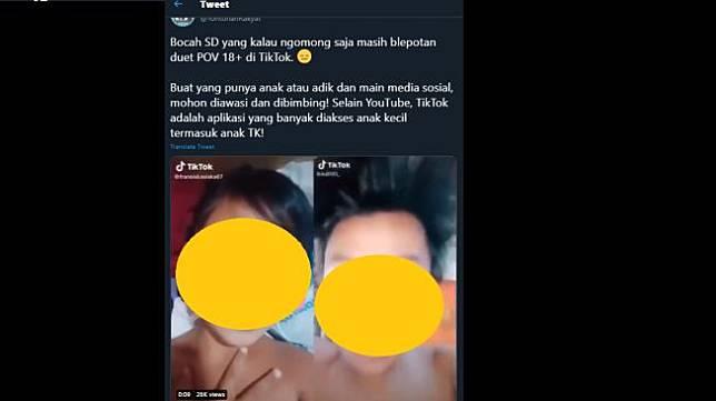 Konten TikTok menirukan adegan orang dewasa. (Twitter/@TontonanRakyat)