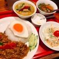 Eセット ガパオ&グリーンカレーセット - 実際訪問したユーザーが直接撮影して投稿した西新宿タイ料理バンコク屋台 カオサン ルミネ新宿店の写真のメニュー情報