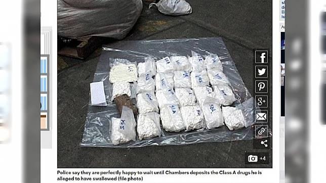 英國一名毒販將毒品吞下後,至今已經忍了24天不拉屎,連警方也拿他沒轍。(圖/翻攝自每日郵報)