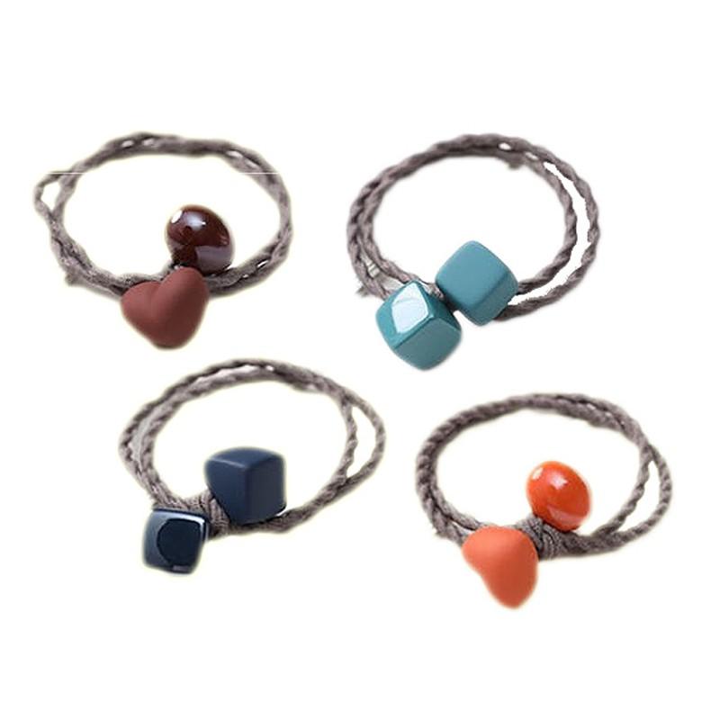 韓國糖果磨砂橡皮色髮繩(1入)愛心/方塊 【小三美日】款式顏色隨機出貨 D802124