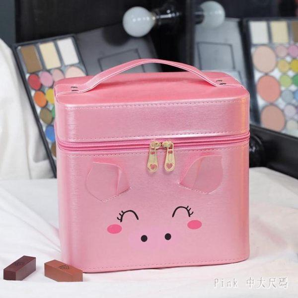 化妝箱化妝包大容量2019新款化妝品收納盒可愛少女心便攜網紅手提簡約箱DC988【Pink中大尺碼】