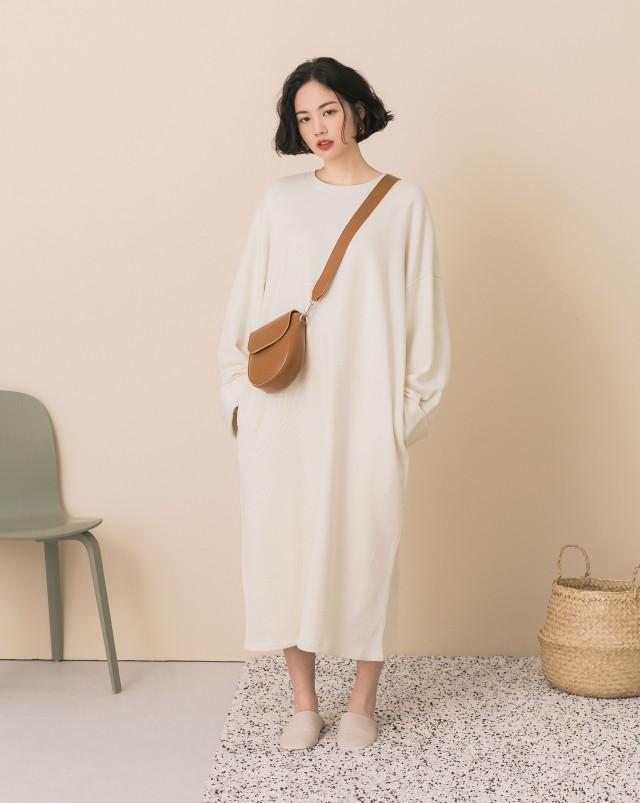 MEIERQ+PROJECT.M 反摺袖寬鬆感長版洋裝