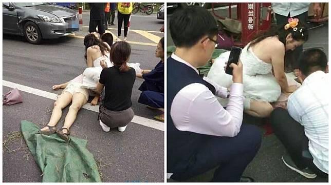 遼寧日前發生一起車禍,一名女醫師不顧自己身上還穿著婚紗,立刻替傷者進行急救。(圖/翻攝自陸網)