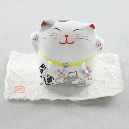 日本【施華洛世奇富士山】色絵福猫 開運