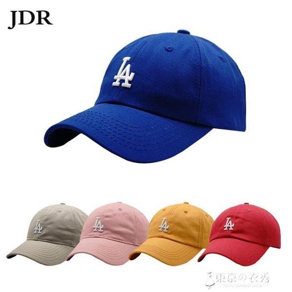 棒球帽女韓國休閒百搭軟頂鴨舌帽子男情侶出游街頭遮陽帽LA小字母