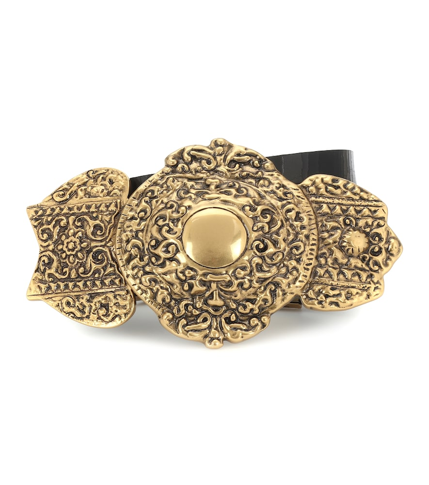 Bring a touch of vintage opulence to your everyday ensemble with the black Byzantine belt from Saint