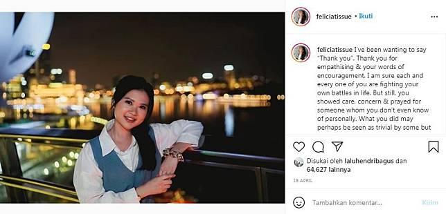 Postingan Felicia Tissue usai beberapa lama putus dari Kaesang Pangarep.