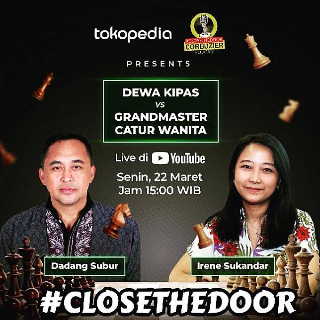 Tanding catur Dewa Kipas Vs Irene Sukandar yang diselenggarakan podcast Deddy Corbuzier Foto Instagram
