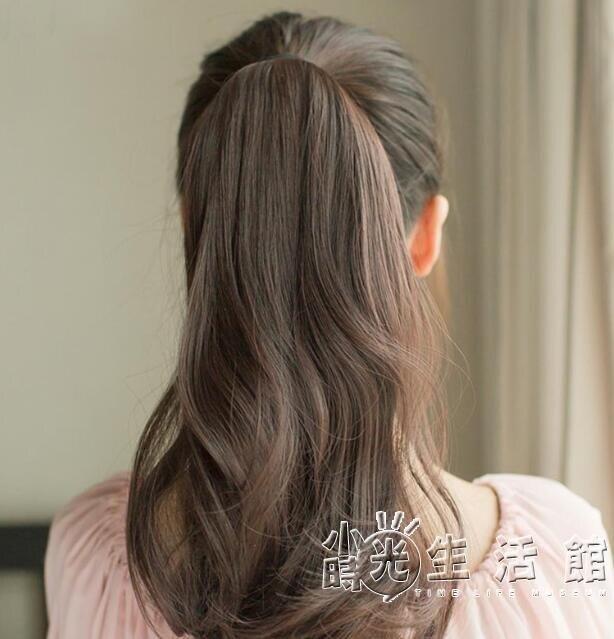 假髮馬尾 短款梨花真馬尾假髮女真髮高長卷髮大波浪綁帶式假辮子 果果輕時尚