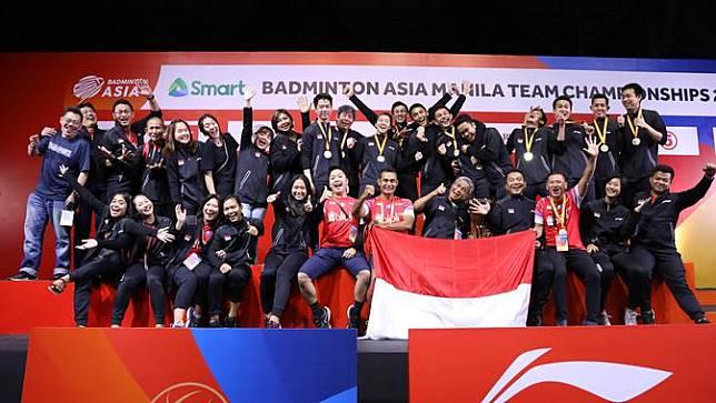 Indonesia Saat Jadi Juara Kejuaraan Bulutangkis Beregu Asia 2020