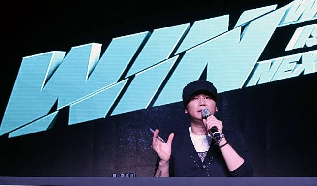 This photo taken on August 20, 2013 shows YG Entertainment CEO Yang Hyun-suk at a tvN reality program 'WIN' production announcement in Seoul.
