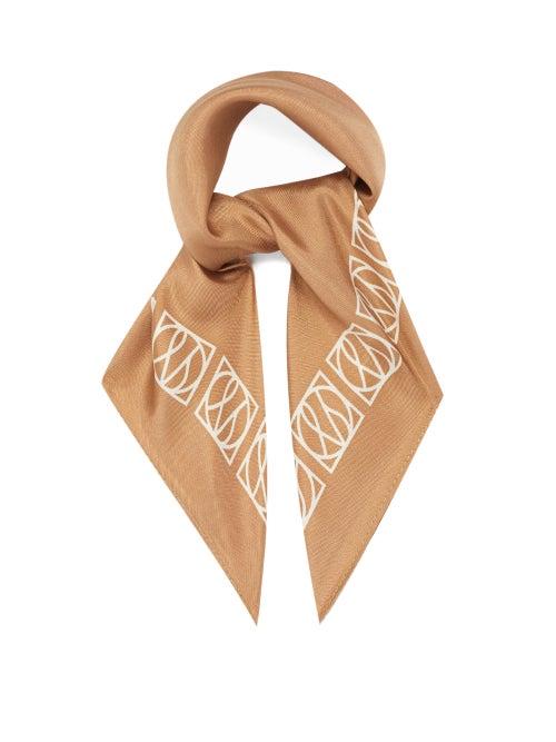 Lescarf - No.21 Monogram Silk Scarf - Womens - Camel