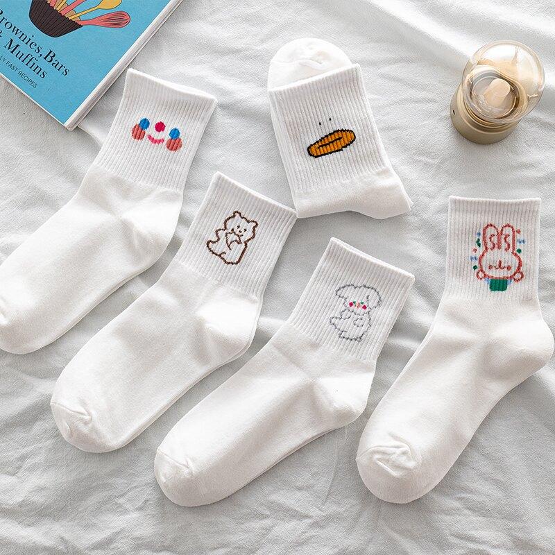 襪子 春夏季襪子女可愛棉質白色小熊中筒襪薄款卡通創意日韓系基礎潮襪『XY24171』