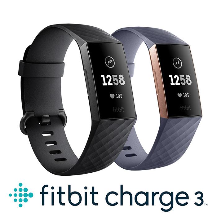 Fitbit Charge 3 智慧運動手環 經典款玫瑰金框藍灰錶帶