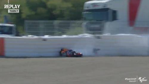 Marc Marquez kecelakaan pada sesi latihan bebas ketiga (Foto: Twitter/@MotoGP)