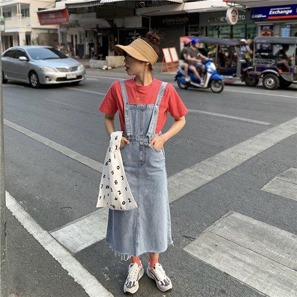 方領 牛仔 吊帶裙 牛仔裙 牛仔 洋裝 背心裙 長裙 刷鬚 後開岔 顯瘦 百搭 韓國 韓劇 正韓 ANNA S.