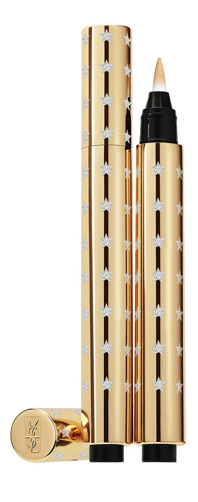 YSL Touche Eclat明彩筆:筆型設計能繪畫更細致部位,經典的金色外殼配上閃爍繁星,賣相高貴吸引,加上備有兩色選擇,適合不同膚色人士使用。(互聯網)