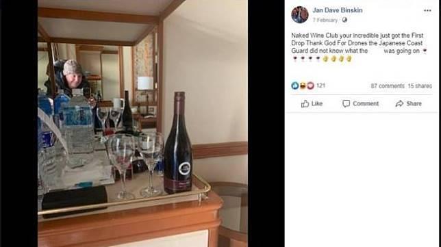Dikarantina, Pasangan Ini Pesan Wine Pakai Drone. (facebook.com/Jan Dave Binskin)