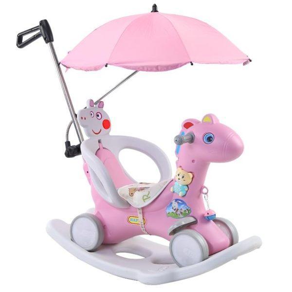 兒童搖搖馬 木馬兒童搖搖馬兩用帶音樂嬰兒塑料玩具小孩馬車生日禮物1-3周歲6 莎瓦迪卡