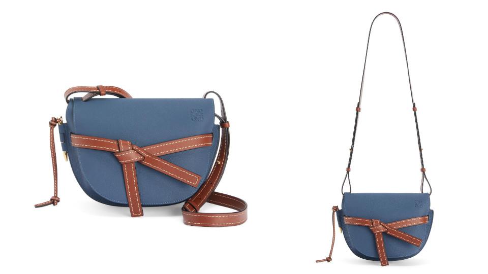 「迷霧靛藍」包包推薦:LOEWE GATE 馬鞍包靛藍小型小牛皮肩背包