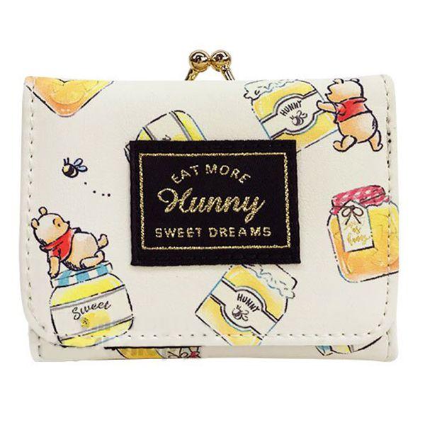 〔小禮堂〕迪士尼 小熊維尼 皮質口金短夾《米黃.蜂蜜罐》錢包.皮夾.皮包