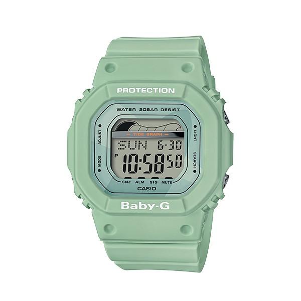 包含基本的黑色、白色以及柔和的藍色、綠色,其中藍色及綠色錶面更有衝浪板造形剪影設計,而功能上搭載潮汐顯示及月相資料,全系列具備耐撞擊構造、防水200米、世界時間、計時碼錶、EL照明等多項功能。規格錶圈
