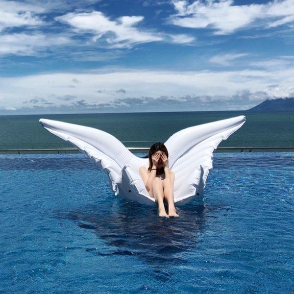 泳圈玩具網紅蝴蝶浮排充氣浮床天使之翼泳圈游泳圈氣墊床泳池戲水玩具 全館免運