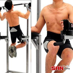 單雙槓結合操作,設伏地挺身器n主要鍛鍊手臂腹肌、肢體肌耐力n九段高低調整,適各種身高使用