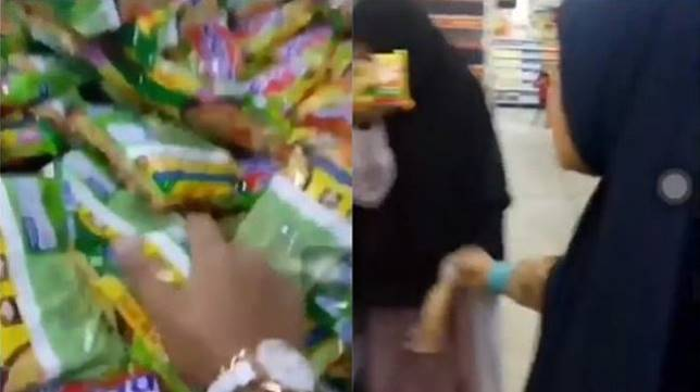 Wanita remuk mi instan di supermarket - (Instagram/@makassar_iinfo)