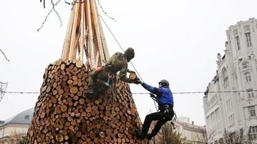 聖誕節後聖誕樹就沒用了?匈牙利設計公司用5000件木柴改變了這項傳統...
