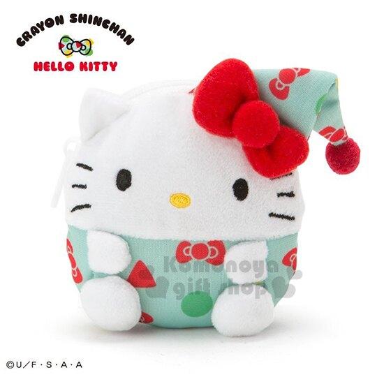 〔小禮堂〕Hello Kitty x 蠟筆小新 迷你造型絨毛零錢包《白綠》耳機包.收納包