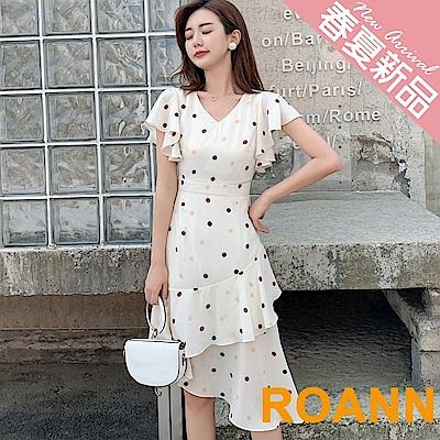 V領點點不規則下擺中長款洋裝 (白色)-ROANN