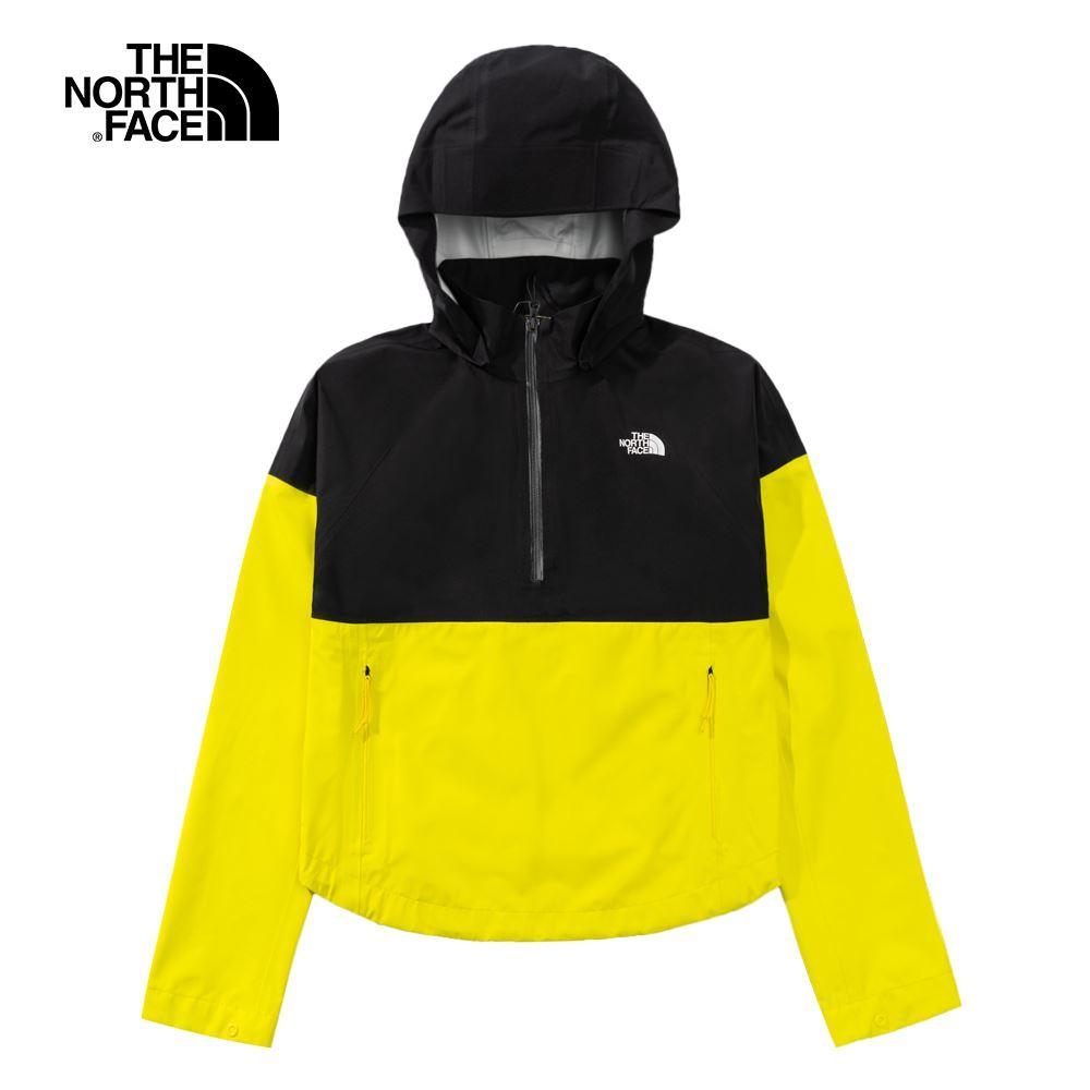 【夜間特降】The North Face北面女款黃黑拼接防水透氣衝鋒衣|4N9NNX4