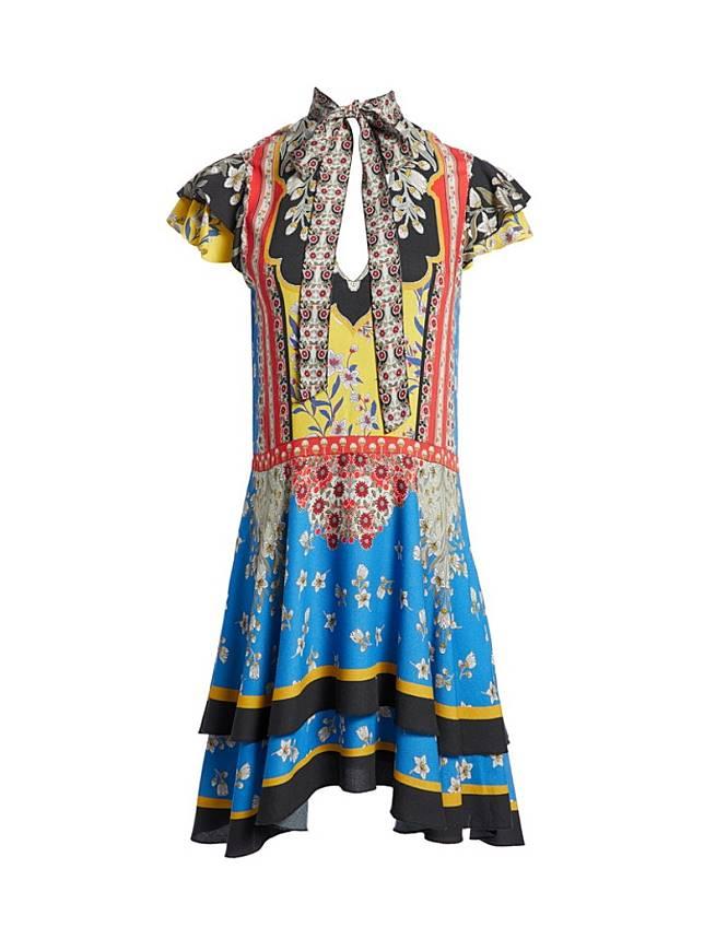 alice+olivia彩色圖案連身短裙 (互聯網)
