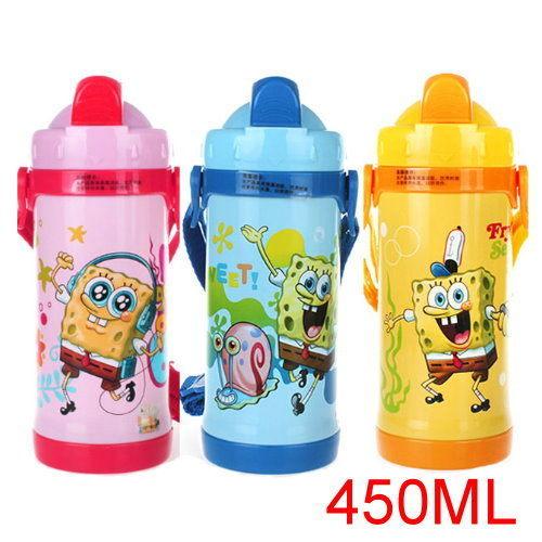 海綿寶寶 兒童吸管不鏽鋼真空保溫水壺/保溫壺450ML(3色)單售 超取需5-7天發貨