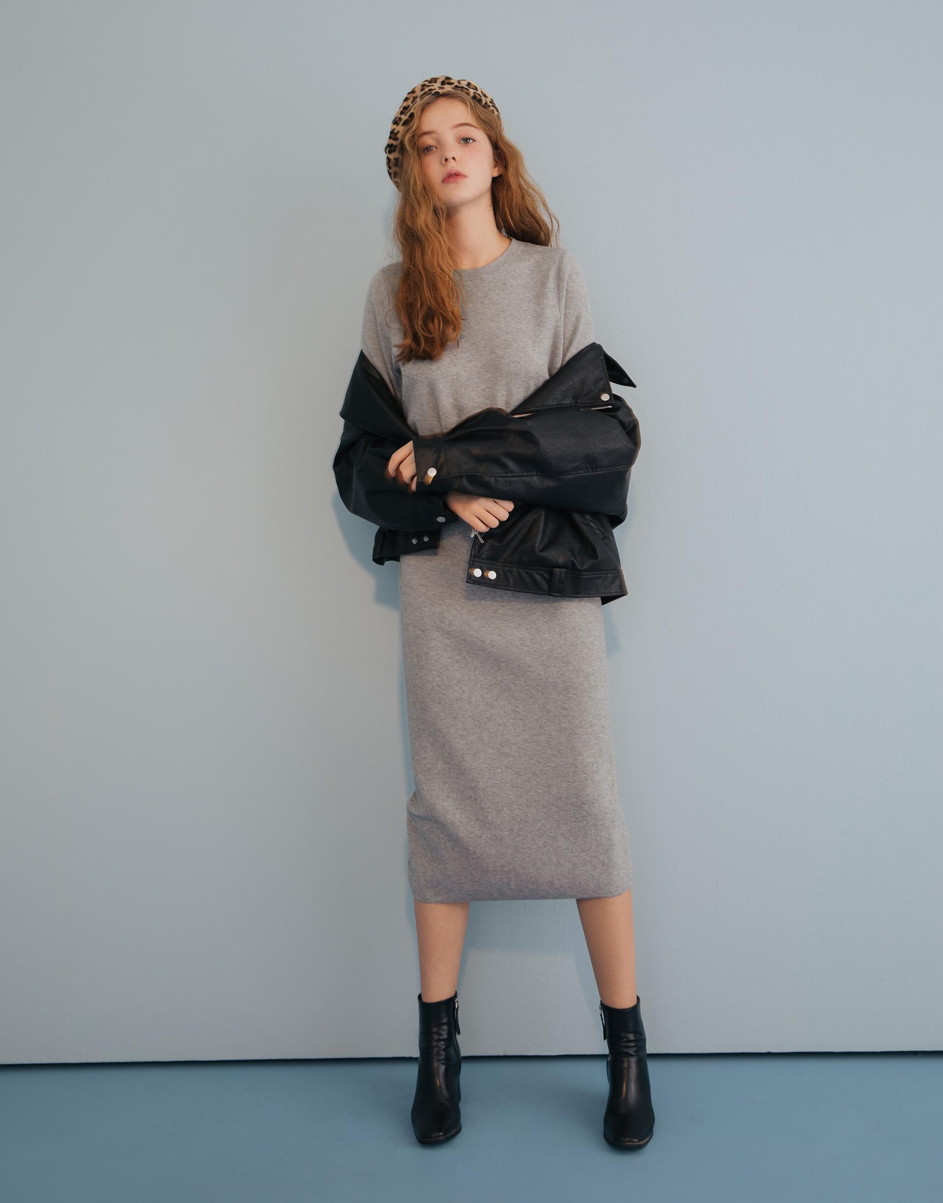 精選柔軟不刺激的紗線/舒適百搭/兩件式可分開搭配/裙子後中有開岔