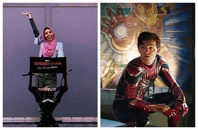 Kolase foto Zoha Rahman dan Poster film Spiderman.