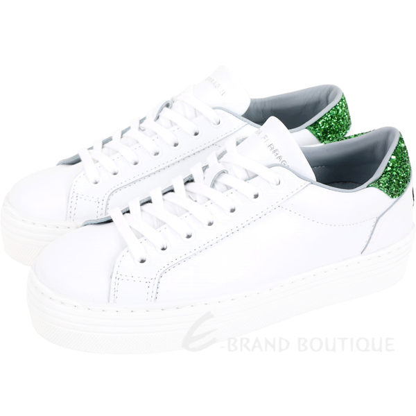 Chiara Ferragni 綠色仙人掌亮片綁帶運動鞋(白色)1920148-20