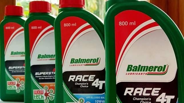 Beberapa produk Balmerol, antara lain MCO Matic Balmerol Superstar SAE 10W30, MCO Matic Balmerol Superstar SAE 20W40, MCO NonMatic Balmerol Race 4T Champion Choice SAE 20, serta MCO NonMatic Balmerol Race 4T Champion Choice SAE 10W40 [Dok. Balmerol].