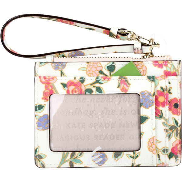 Kate Spade Cameron Street 花卉印花防刮皮證件夾/零錢包(奶油白) 1830119-20