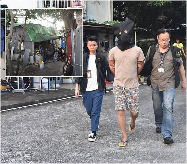 保母的同居男友被捕,並帶返現場村屋調查。