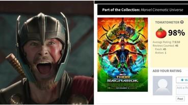 英雄片中最高評分!《雷神3》一致大讚零負評 「爛番茄」開 98% 破漫威、DC 紀錄!
