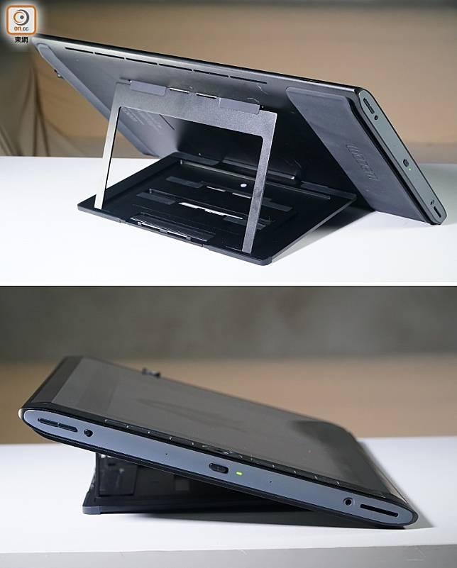 MobileStudio Pro 16附送360度旋轉支架,也可調校成不同的座枱角度。(莫文俊攝)