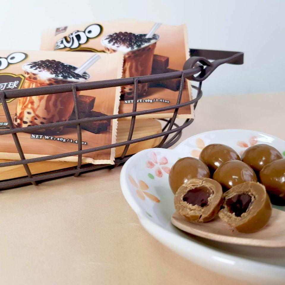 濃郁的黑糖香配上帶有嚼勁的珍珠,還真的會有喝黑糖珍奶的錯覺,而不是在吃巧克力。