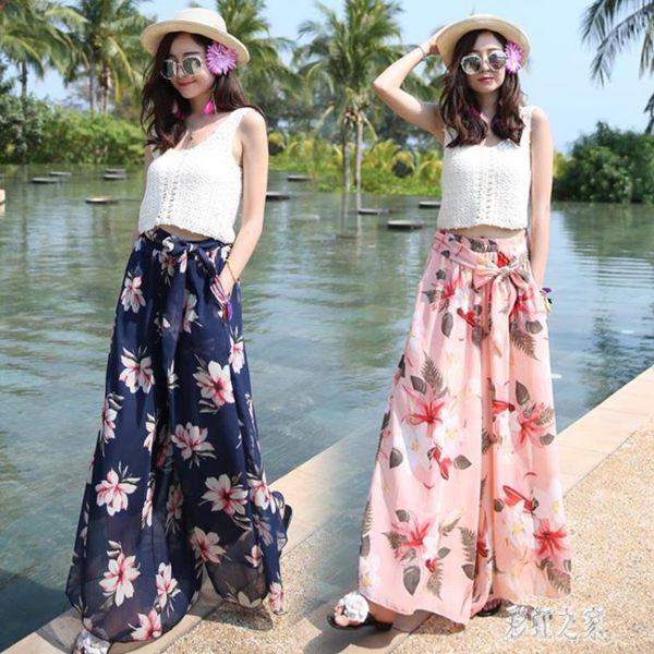 波西米亞碎花寬褲裙女夏季海邊度假九分沙灘褲寬鬆印花雪紡長褲子潮