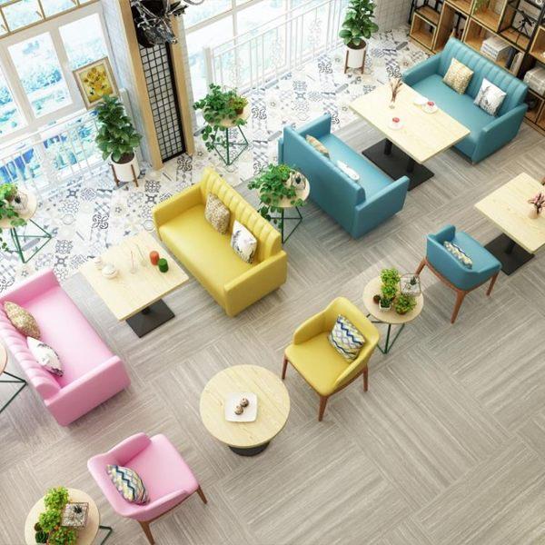 餐廳沙發網紅奶茶店桌椅組合簡約休閑甜品餐飲店西餐咖啡廳小吃店卡座沙發 非凡小鋪LX