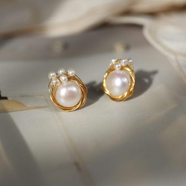 古典優美氣質手工纏繞珍珠松石純銀耳釘(繞絲版)/設計家