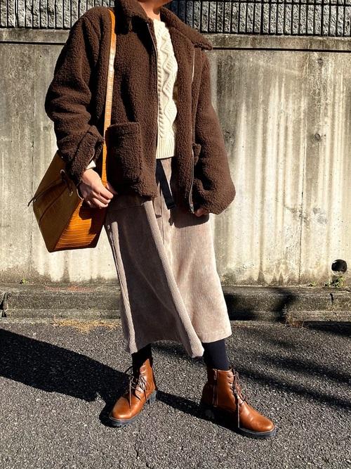 思夢樂 棕色厚重款有領毛絨外套